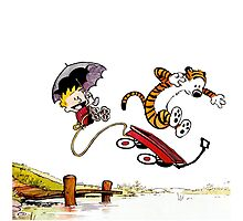 Calvin And Hobbes Jumping Photographic Print