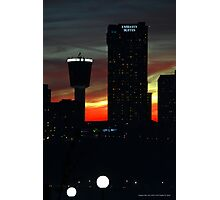 Red Dusk Behind Canadian Skyline | Niagara Falls, New York Photographic Print