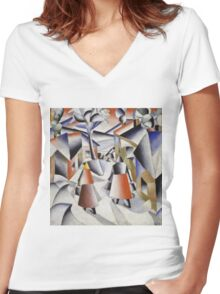 Kazimir Malevich - Morning In The Village After Snowstorm. Abstract painting: abstract art, winter, village, snowstorm, lines, forms, creative fusion, spot, shape, illusion, fantasy future Women's Fitted V-Neck T-Shirt