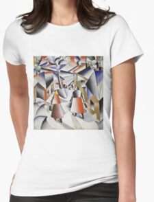Kazimir Malevich - Morning In The Village After Snowstorm. Abstract painting: abstract art, winter, village, snowstorm, lines, forms, creative fusion, spot, shape, illusion, fantasy future Womens Fitted T-Shirt