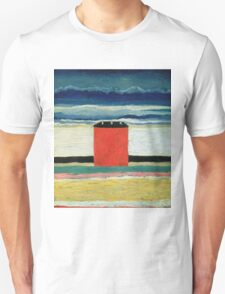 Kazimir Malevich - Red House. Abstract painting:  beach, building, sea,  house, horizon,  water, creative fusion, spot, shape, illusion, fantasy future Unisex T-Shirt