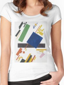 Kazimir Malevich - Suprematist Composition. Abstract painting: abstract art, geometric, expressionism, composition, lines, forms, creative fusion, spot, shape, illusion, fantasy future Women's Fitted Scoop T-Shirt
