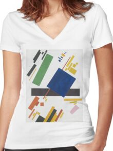 Kazimir Malevich - Suprematist Composition. Abstract painting: abstract art, geometric, expressionism, composition, lines, forms, creative fusion, spot, shape, illusion, fantasy future Women's Fitted V-Neck T-Shirt