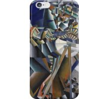 Kazimir Malevich - The Knife Grinder Or Principle Of Glittering. Abstract painting: art, geometric, expressionism, composition, lines, forms, creative fusion, spot, shape, illusion, fantasy future iPhone Case/Skin