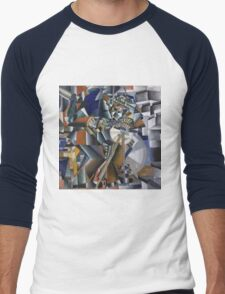Kazimir Malevich - The Knife Grinder Or Principle Of Glittering. Abstract painting: art, geometric, expressionism, composition, lines, forms, creative fusion, spot, shape, illusion, fantasy future Men's Baseball ¾ T-Shirt