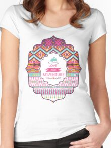 Navajo colorful  tribal pattern with geometric elements Women's Fitted Scoop T-Shirt