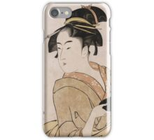Kitagawa Utamaro - A Bust Portrait Of The Waitress Okita Of The Naniwaya Teahouse. Woman portrait: sensual woman, geisha, female style, femine, headdress,  hairstyle, courtesans iPhone Case/Skin