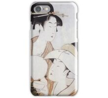 Kitagawa Utamaro - Bust Portrait Of Two Women, One Holding A Fan, The Other With A Head Cover Holding A Tea Cup. Woman portrait: sensual woman, geisha, female style, pretty women, femine, love iPhone Case/Skin