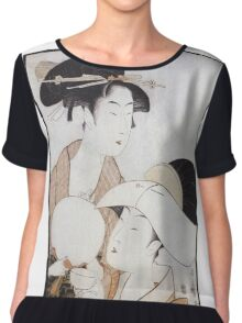 Kitagawa Utamaro - Bust Portrait Of Two Women, One Holding A Fan, The Other With A Head Cover Holding A Tea Cup. Woman portrait: sensual woman, geisha, female style, pretty women, femine, love Chiffon Top