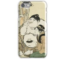 Kitagawa Utamaro - Daidozan Bungoro, The Infant Prodigy Drinking Sake. People portrait: party, woman and man,  Samurai, geisha , female and male,  women and men, people, beautiful dress iPhone Case/Skin