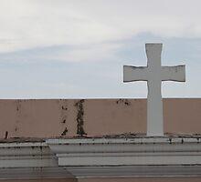White Cross, Blue Sky by Scott Larson