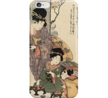 Kitagawa Utamaro - Girl S Festival (Hinamatsuri). Woman  portrait:  woman, girls,  children, pretty women, femine, beautiful dress, shows, headdress, love, female style, geisha iPhone Case/Skin