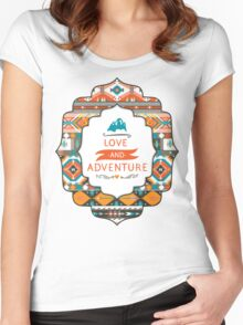 Aztec geometric seamless  colorful pattern Women's Fitted Scoop T-Shirt