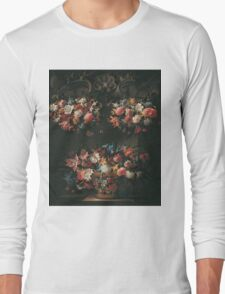 Juan De Arellano - Still Life With Flowers 1660. Still life with flowers: blossom, nature, botanical, floral flora, wonderful flower, plants, cute plant for kitchen interior, garden, vase Long Sleeve T-Shirt