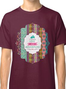 Seamless colorful aztec pattern with birds and arrow Classic T-Shirt