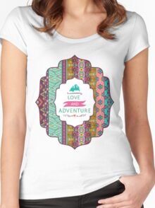 Seamless colorful aztec pattern with birds and arrow Women's Fitted Scoop T-Shirt