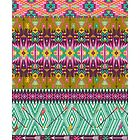 Seamless colorful aztec pattern with birds and arrow by Olena Syerozhym