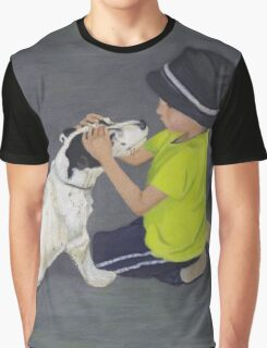 Little Boy and Bull Terrier Dog Graphic T-Shirt