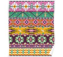Native american seamless tribal pattern with geometric elements Poster