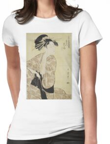Kitagawa Utamaro - A Portrait Of The Highest Rank Courtesan, Hanaogi. Woman portrait: sensual woman, geisha, female style, pretty women, femine, beautiful dress, cute, headdress, love, erotic pose Womens Fitted T-Shirt
