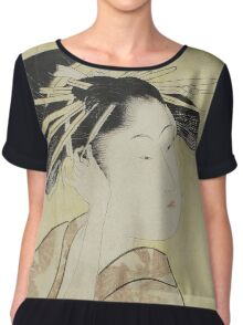 Kitagawa Utamaro - A Portrait Of The Highest Rank Courtesan, Hanaogi. Woman portrait: sensual woman, geisha, female style, pretty women, femine, beautiful dress, cute, headdress, love, erotic pose Chiffon Top