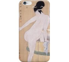 Kitagawa Utamaro - Bathing In Cold Water 1799. Woman portrait: sensual woman, geisha, female style, pretty women, femine, beautiful dress, cute, headdress, love, sexy lady, erotic pose iPhone Case/Skin