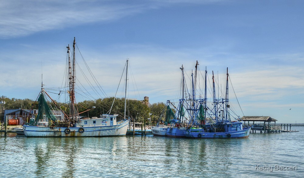 Blue Chinese Shrimping Boats by Kathy Baccari