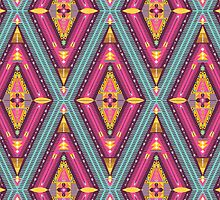 Aztec geometric colorful pattern by tomuato