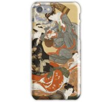 Katsushika Hokusai - Five Beautiful Women. Geisha portrait: Geisha, japanese, courtesan, pretty women, femine, beautiful dress, sleeping, asleep, love, sexy lady, erotic pose iPhone Case/Skin
