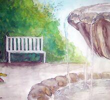 fountain in a garden by Elhafed