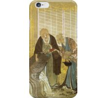 Katsushika Hokusai - Turtle As A Symbol Of Longevity. People portrait: party, woman and man, people, family, female and male, peasants, crowd, romance, women and men, city, home society iPhone Case/Skin