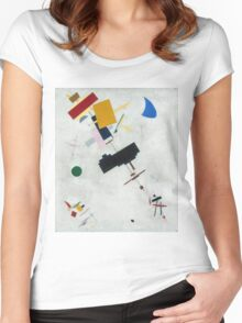 Kazimir Malevich - Suprematism. Abstract painting: abstract art, geometric, expressionism, composition, lines, forms, creative fusion, spot, shape, illusion, fantasy future Women's Fitted Scoop T-Shirt