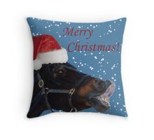 Funny Christmas Pony  Throw Pillow