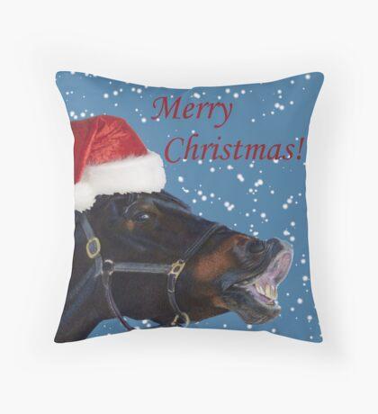 Funny Christmas Pony  Throw Pillow
