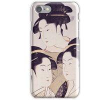 Kitagawa Utamaro - Three Beauties Of The Present Day. Woman portrait: sensual geisha, female style, traditional dress, femine, beautiful dress, headdress,  hairstyle, courtesans, sexy lady iPhone Case/Skin