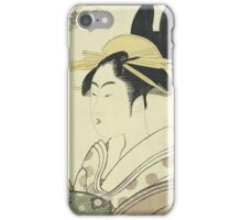 Kitagawa Utamaro - An Okubi-E Portrait Of A Courtesan Representing The Hagi Or Noji River. Woman portrait: sensual geisha, female style, pretty women, femine, beautiful dress, cute, love, sexy lady iPhone Case/Skin