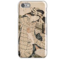 Katsushika Hokusai - Courtesan Asleep. Geisha portrait: Geisha, japanese, courtesan, pretty women, femine, beautiful dress, cute, creativity, love, sexy lady, pose iPhone Case/Skin