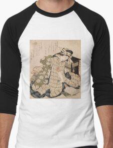 Katsushika Hokusai - Courtesan Asleep. Geisha portrait: Geisha, japanese, courtesan, pretty women, femine, beautiful dress, cute, creativity, love, sexy lady, pose Men's Baseball ¾ T-Shirt