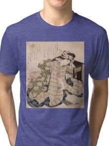 Katsushika Hokusai - Courtesan Asleep. Geisha portrait: Geisha, japanese, courtesan, pretty women, femine, beautiful dress, cute, creativity, love, sexy lady, pose Tri-blend T-Shirt