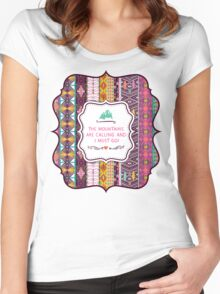 Native american seamless tribal pattern with geometric elements Women's Fitted Scoop T-Shirt
