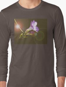 Purple freesia composition with lens flare Long Sleeve T-Shirt