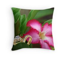 WEDDING RING THROW PILLOW WITH FLOWER...WILL U MARRY ME Throw Pillow