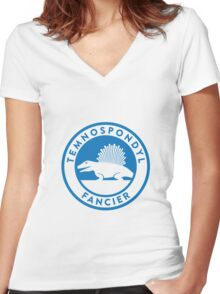 Temnospondyl Fancier Tee (Blue on White) Women's Fitted V-Neck T-Shirt