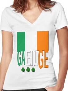 Gaeilge, Irish Flag Women's Fitted V-Neck T-Shirt