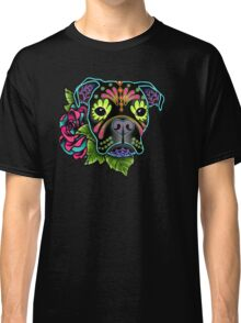 Boxer in Black- Day of the Dead Sugar Skull Dog Classic T-Shirt