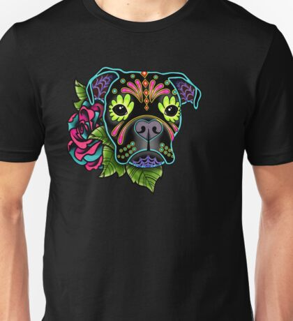 Boxer in Black- Day of the Dead Sugar Skull Dog Unisex T-Shirt