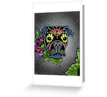 Boxer in Black- Day of the Dead Sugar Skull Dog Greeting Card