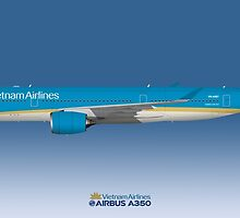 Illustration of Vietnam Airlines Airbus A350 - Blue Version by © Steve H Clark
