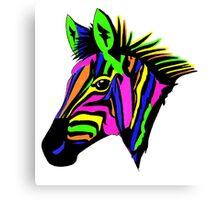 Neon zebra head. Canvas Print