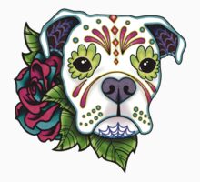 Boxer in White- Day of the Dead Sugar Skull Dog One Piece - Short Sleeve